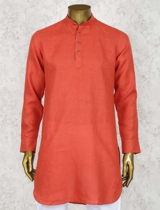 Rust orange hued linen cotton fabric short pathani