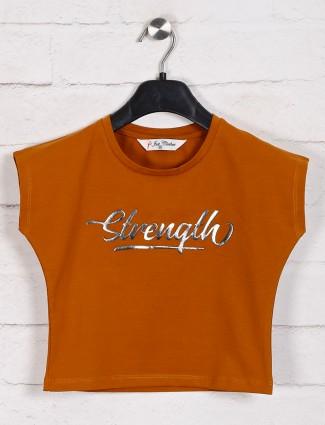 Rust orange printed casual top