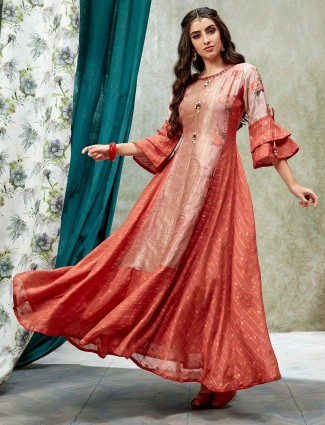 Rust orange quarter sleeves cotton silk long kurti