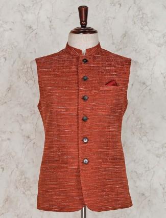 Rust orange raw silk waistcoat