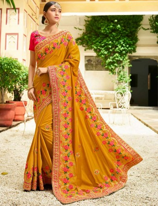 Rust orange semi silk fabric saree