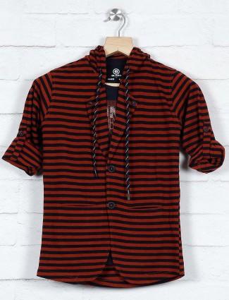 Rust orange stripe cotton blazer for party