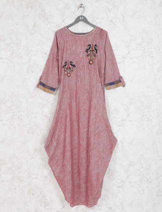 Rust pink colored cotton fabric kurti