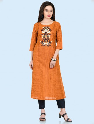 Rust pink cotton casual kurti