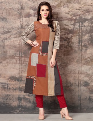 Rusty orange cotton silk fabric kurti