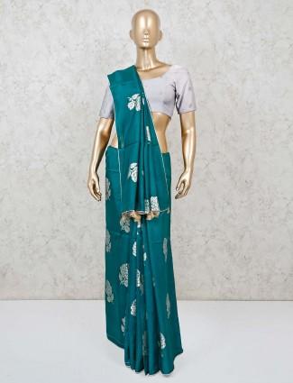Saree in rama green semi silk