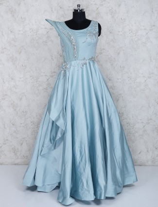 Satin fabric sky blue party wear gown