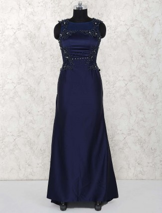 Satin gown in navy color