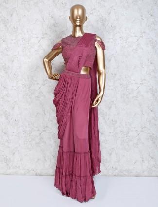Satin rose pink indo western sharara suit