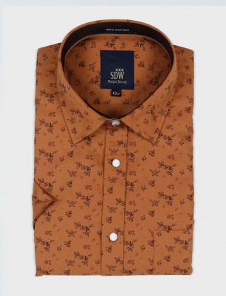 SDW brown printed cotton shirt