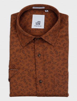 SDW brown printed mens shirt
