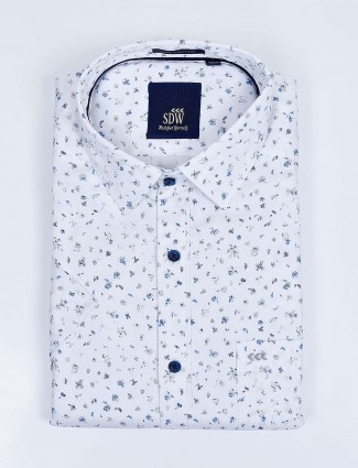 SDW formal function white printed shirt