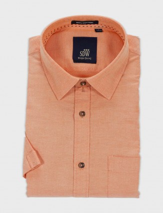 SDW mens solid peach color shirt