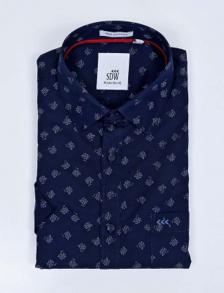 SDW navy color printed cotton fabric shirt