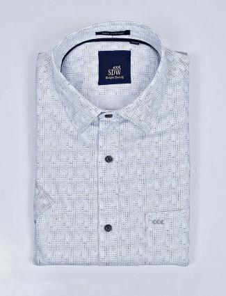 SDW navy color printed cotton shirt