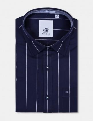 SDW navy color stripe full sleeves shirt