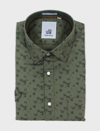 SDW olive printed mens shirt