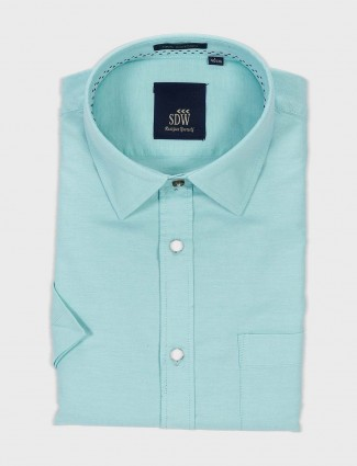 SDW sea green solid slim fit shirt