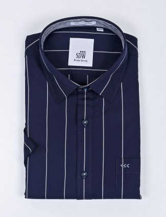 SDW stripe pattern navy half sleeves shirt
