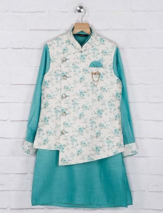 Sea green and white hued printed cotton jute waistcoat set
