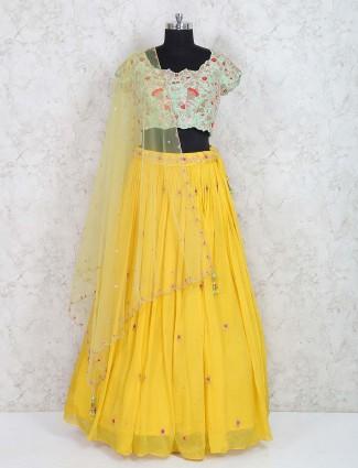 Sea green and yellow wedding wear lehenga choli