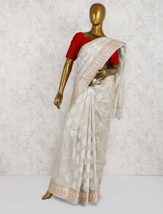 Sea green banarasi silk bridal saree