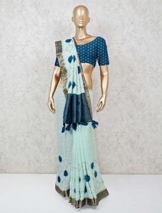 Sea green classic cotton silk saree
