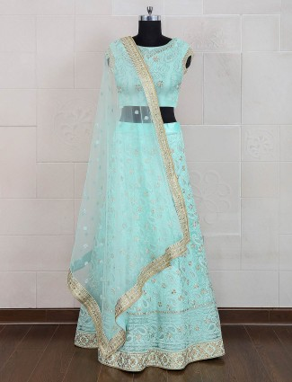 Sea green color semi stitched lehenga choli