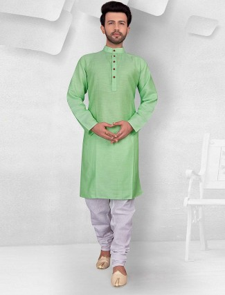 Sea green color solid festive kurta suit