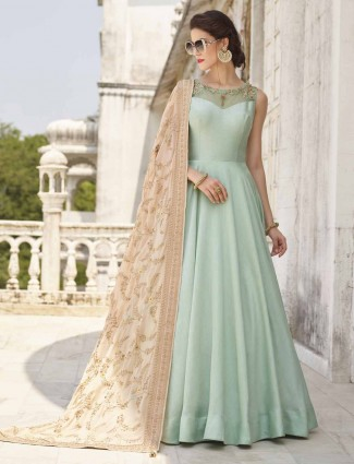 Sea green cotton silk festive anarkali suit