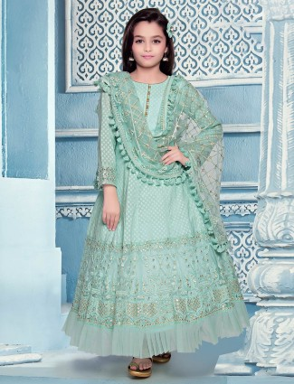 Sea green cotton silk wedding anarkali suit