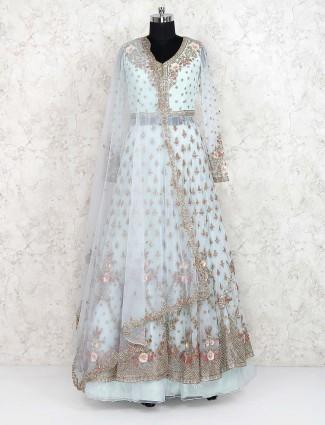 Sky blue net fabric indo western lehenga choli