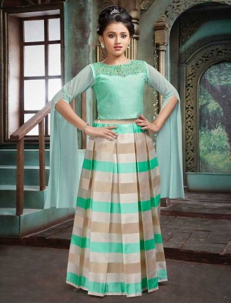 Sea green raw silk fabric lehenga choli