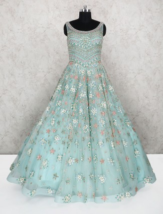 Sea green wedding wear designer gown