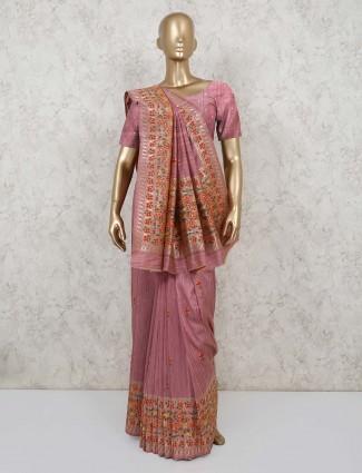 Semi banarasi silk saree in pink for festivals
