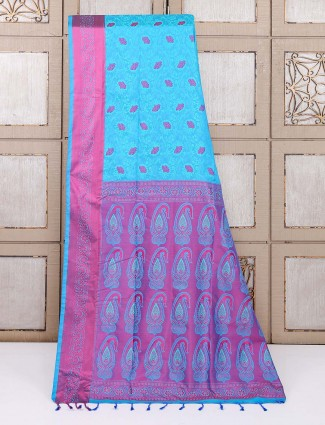 Semi silk festive function aqua color saree