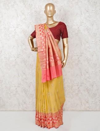 Semi silk mustard yellow indian saree