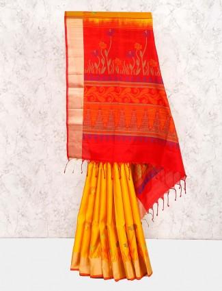 Semi silk saree in gold color
