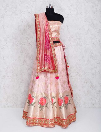 Semi stitched lehenga choli in pink