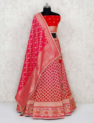 Semi stitched magenta-red georgette lehenga with magenta dupatta