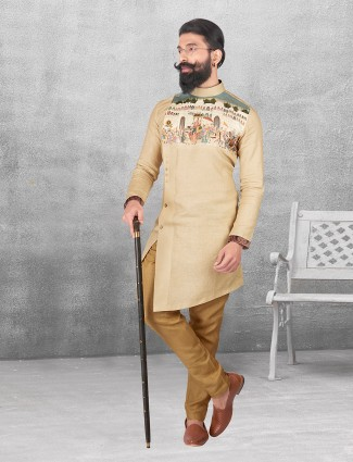 Silk beige festivewear kurta suit