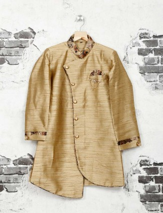 Silk beige party wear kurta suit