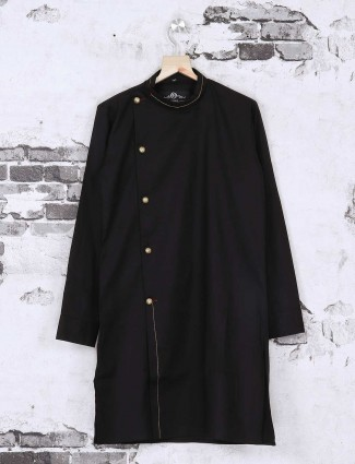 Silk black plain kurta suit