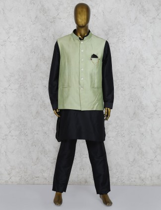 Silk fabric black and green party wear waistcoat set