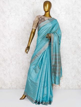 Silk fabric festive wear aqua hue saree