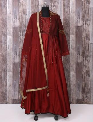 Silk fabric maroon anarkali suit