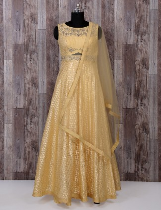 Silk fabric mellow yellow color anarkali suit
