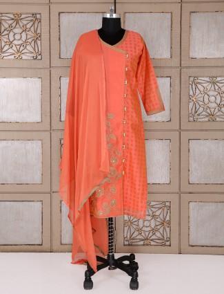 Silk fabric orange salwar suit