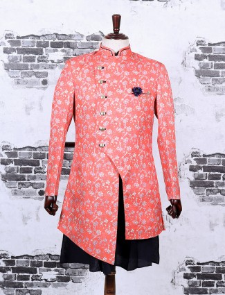 Silk fabric pink color mans indo western