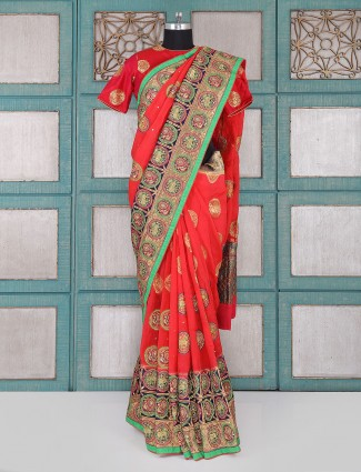 Silk fabric red saree for wedding wear